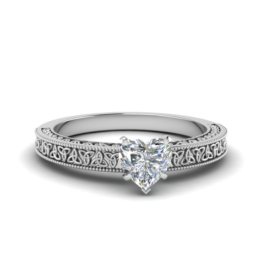 Heart Shaped Celtic Engraved Solitaire Ring In 18K White Gold
