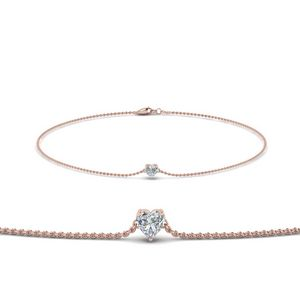 Heart Shaped Diamond Chain Bracelet In 18K Rose Gold