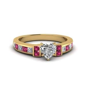 Heart Shaped Channel Bar Set Diamond Engagement Ring For Women With Pink Sapphire In 14K Yellow Gold