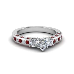 Channel Set Diamond Ring With Ruby
