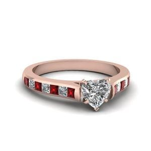 Heart Shaped Cathedral Channel Set Diamond Engagement Ring With Ruby In 18K Rose Gold