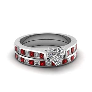 Ruby Heart Diamond Engagement Ring Set