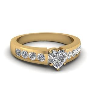 Heart Shaped Diamond Channel Set Engagement Ring In 14K Yellow Gold