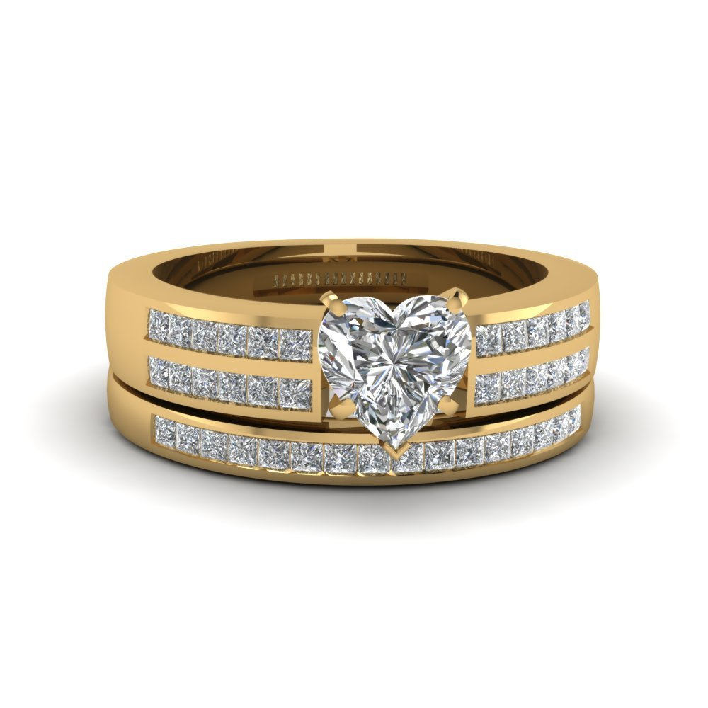 Heart Shaped Diamond Accent Channel Set Wedding Ring Set In 14K Yellow Gold