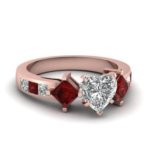 Sqaure Accent Ruby Heart Ring