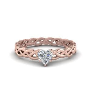 Braided Heart Shaped Solitaire Ring