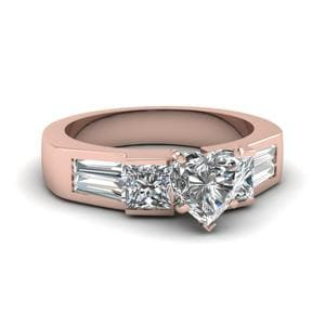Art Deco Heart Diamond Engagement Ring In 18K Rose Gold