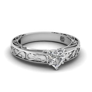 Carved Heart Diamond Solitaire Engagement Ring In 18K White Gold