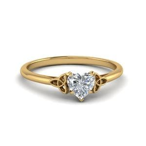 Heart Shaped Diamond Celtic Solitaire Ring In 14K Yellow Gold