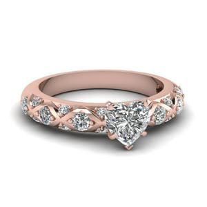 Cross Band Heart Diamond Ring