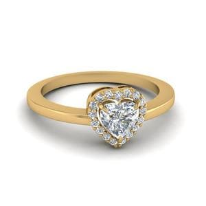 Heart Shaped Diamond Elegant Halo Engagement Ring In 14K Yellow Gold