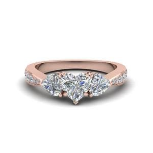 Trio Pave Heart Diamond Ring