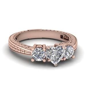 Heart Shaped Vintage Engraved 3 Stone Diamond Engagement Ring In 14K Rose Gold