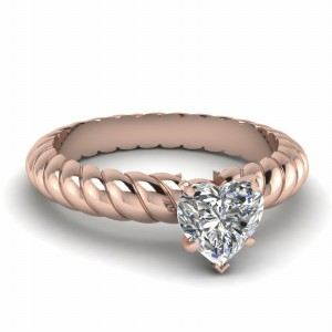 Heart Shaped Rope Solitaire Ring