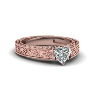 Vintage Engraved Heart Shaped Solitaire Engagement Ring In 14K Rose Gold
