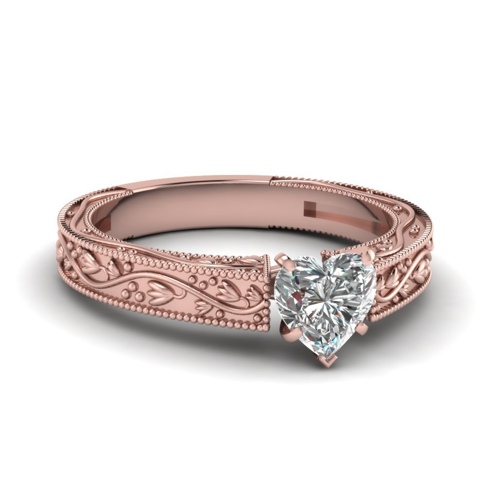 Floral Engraved Heart Shaped Diamond Solitaire Engagement Ring In 14K Rose Gold