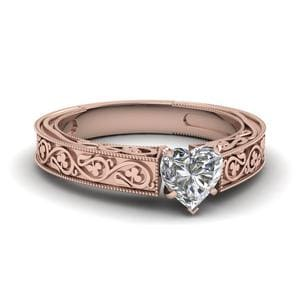 Vintage Heart Solitaire Diamond Ring In 14K Rose Gold