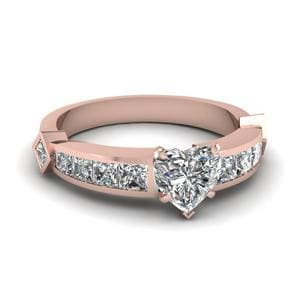 Heart Shaped Diamond Engagement Ring In 14K Rose Gold