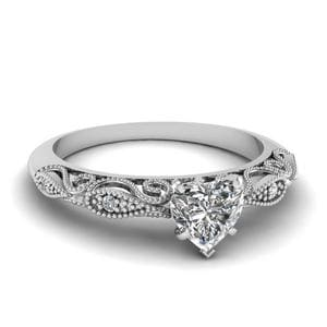 Heart Shaped Paisley Diamond Ring In 18K White Gold