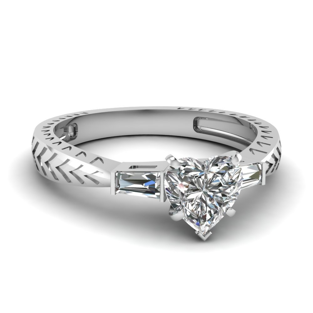 Tapered Vintage 3 Stone Heart Engagement Ring In 14K White Gold