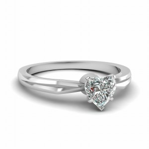 Tapered Solitaire Heart Diamond Ring