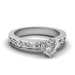 Heart Shaped Flower Engraved Solitaire Engagement Ring In 14K White Gold