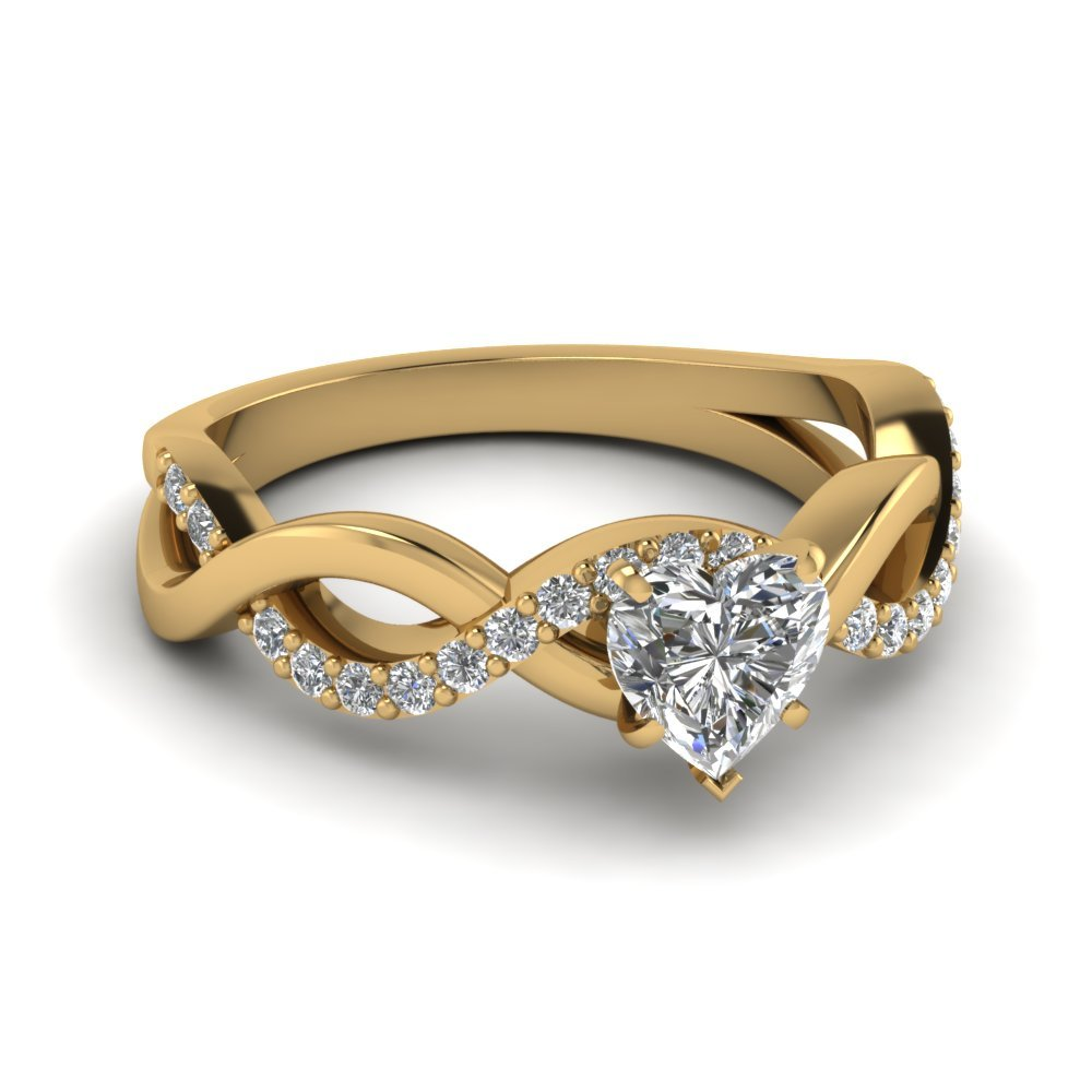 Heart Diamond Infinity Wedding Ring In 14K Yellow Gold