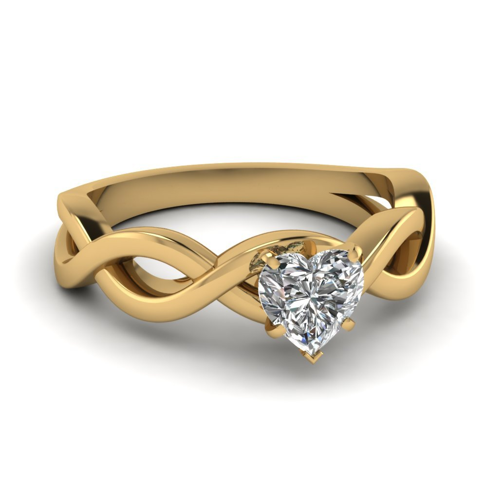 Infinity Heart Diamond Solitaire Engagement Ring In 14K Yellow Gold