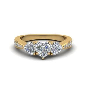 Heart Shaped Trio Pave Diamond Ring