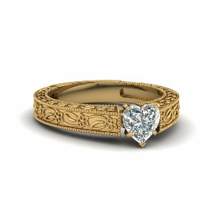 Vintage Engraved Heart Shaped Solitaire Engagement Ring In 14K Yellow Gold