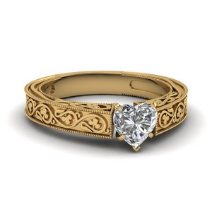 Vintage Heart Solitaire Diamond Ring In 14K Yellow Gold