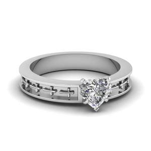 Cross Engraved Heart Shaped Solitaire Engagement Ring In 18K White Gold
