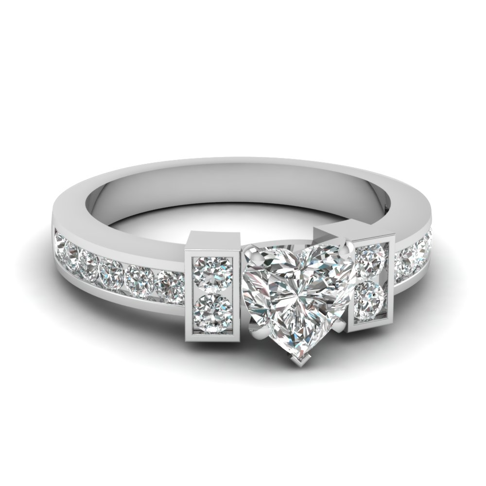 Channel Set Side Stone Heart Diamond Engagement Ring In 18K White Gold