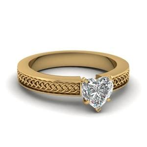 Weaved Design Heart Shaped Solitaire Engagement Ring In 18K Yellow Gold