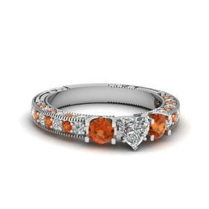 Vintage Style 3 Stone Heart Diamond Engagement Ring With Orange Sapphire In 18K White Gold