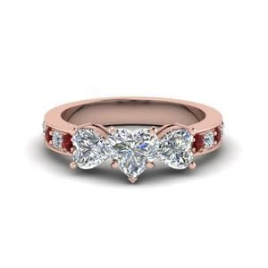 Pave Three Heart Diamond Ring