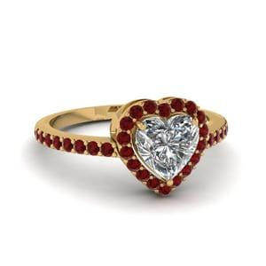 Heart Shaped Ruby Halo Ring