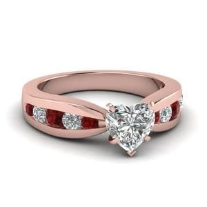 Tapered Channel Set Heart Diamond Engagement Ring With Ruby In 18K Rose Gold