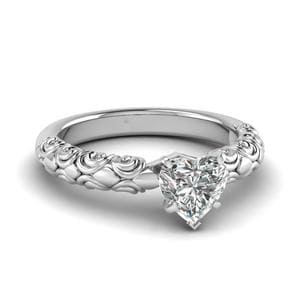 Heart Shaped Diamond Filigree Accent Solitaire Ring