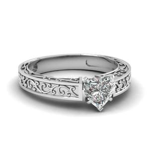 Engraved Heart Shaped Diamond Ring