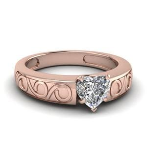 Heart Shaped Filigree Solitaire Ring In 14K Rose Gold