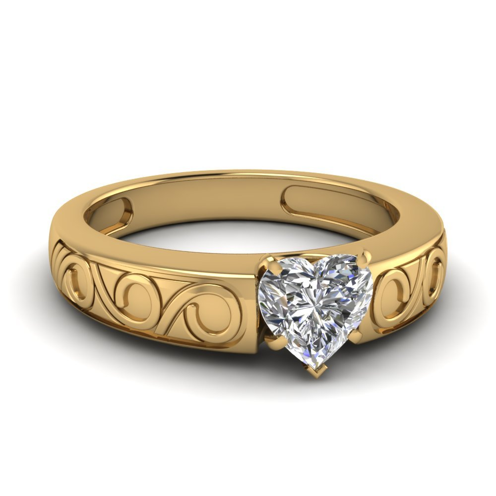Heart Shaped Filigree Solitaire Ring In 14K Yellow Gold