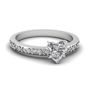 Floral Engraved Heart Diamond Solitaire Ring In 14K White Gold