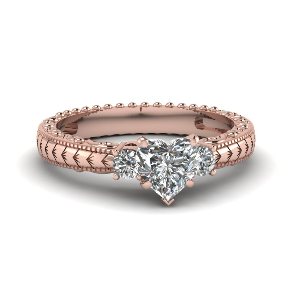 Hand Engraved 3 Stone Heart Shaped Engagement Ring In 14K Rose Gold