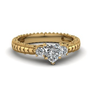 Hand Engraved 3 Stone Heart Shaped Engagement Ring In 14K Yellow Gold