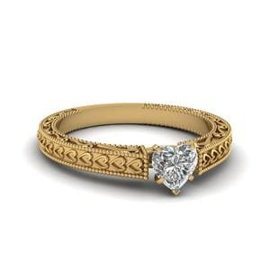 Heart Shaped Diamond Antique Solitaire Ring In 14K Yellow Gold