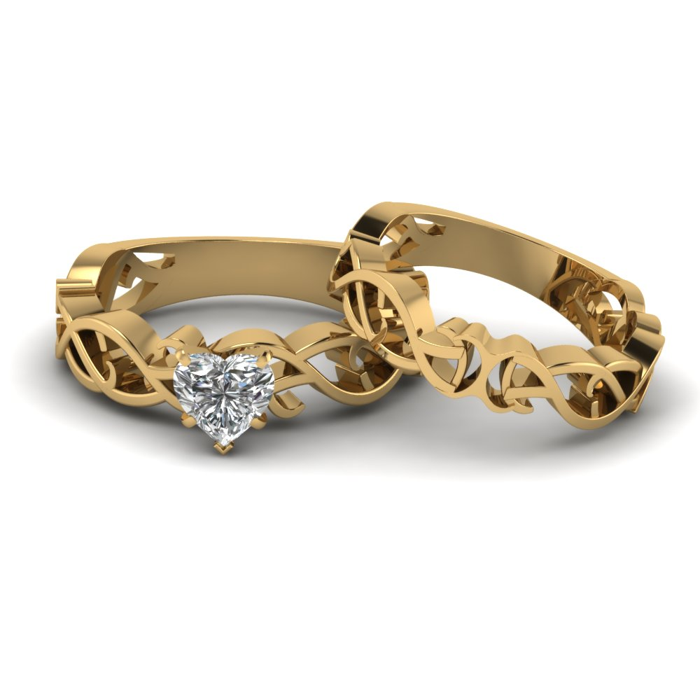 18k Gold Wedding Ring Set