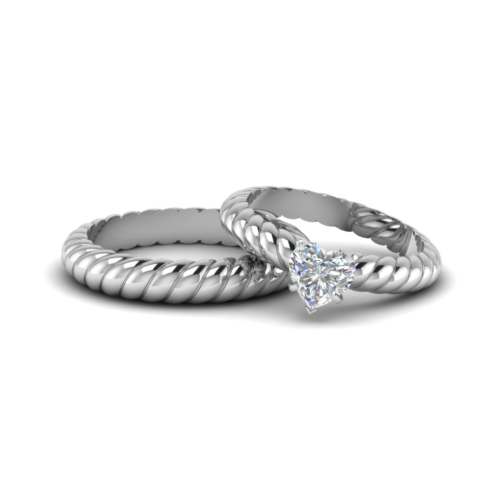 Heart Shape Matching Wedding Ring For Bride And Groom