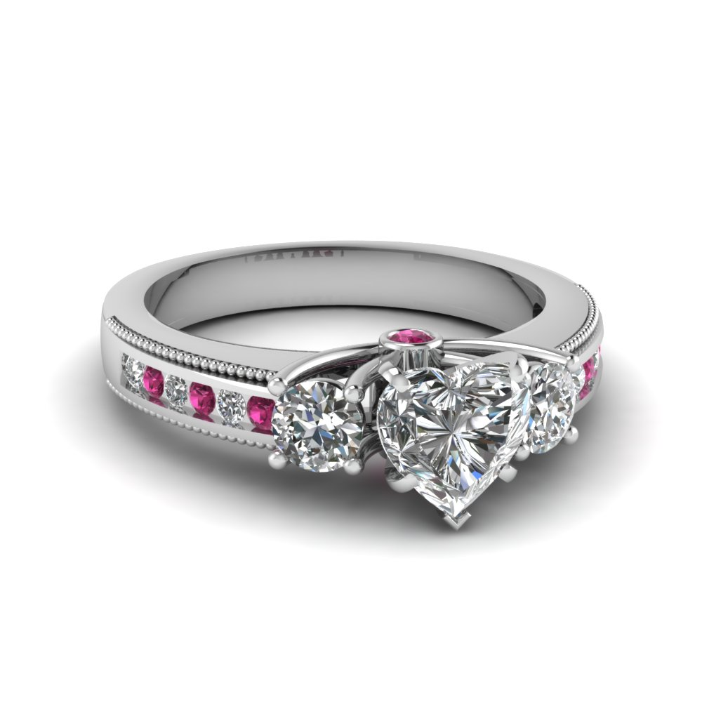 3 Stone Accented Floating Prong Diamond Engagement Ring