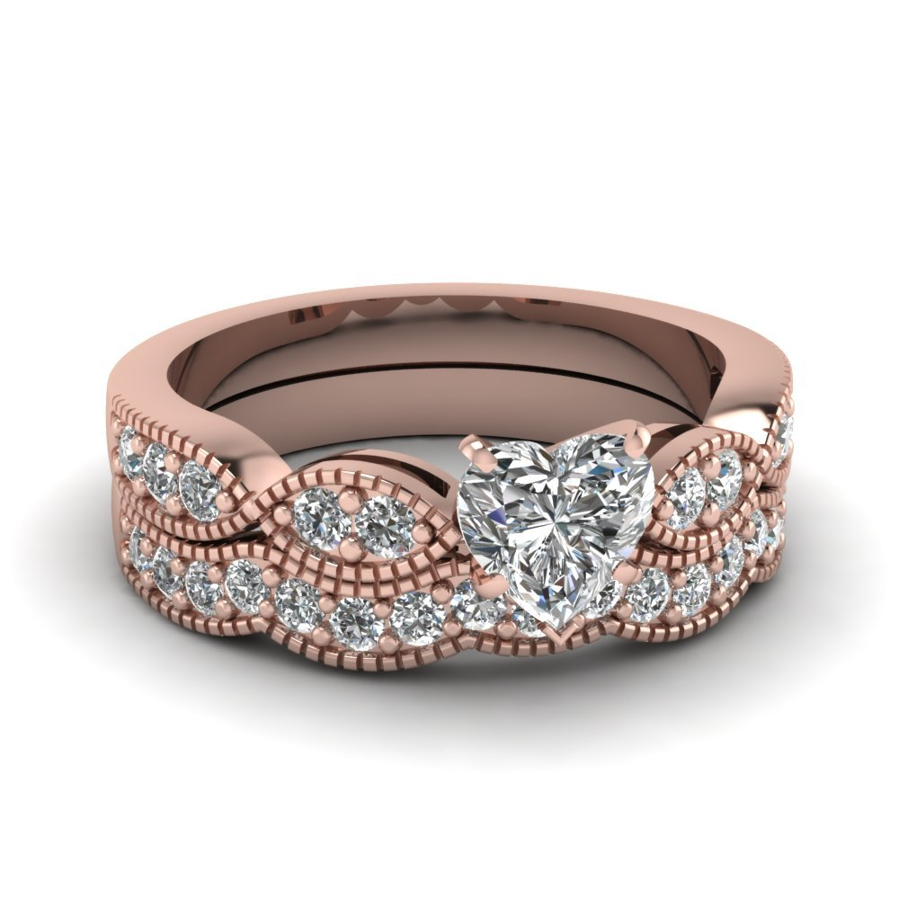 Heart Shaped Diamond Milgrain Weave Wedding Set In 14K Rose Gold